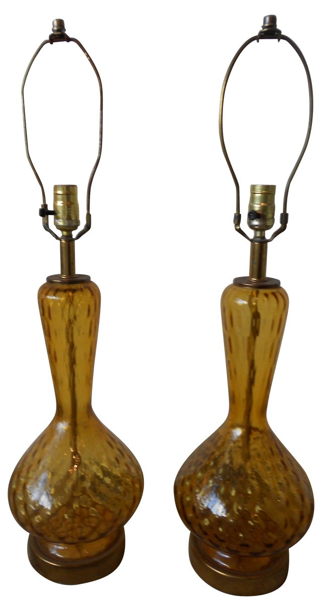 Amber Glass Lamps, Pair