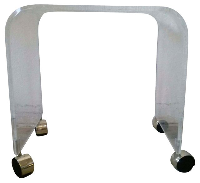 Solid Lucite Curved Vanity Stool