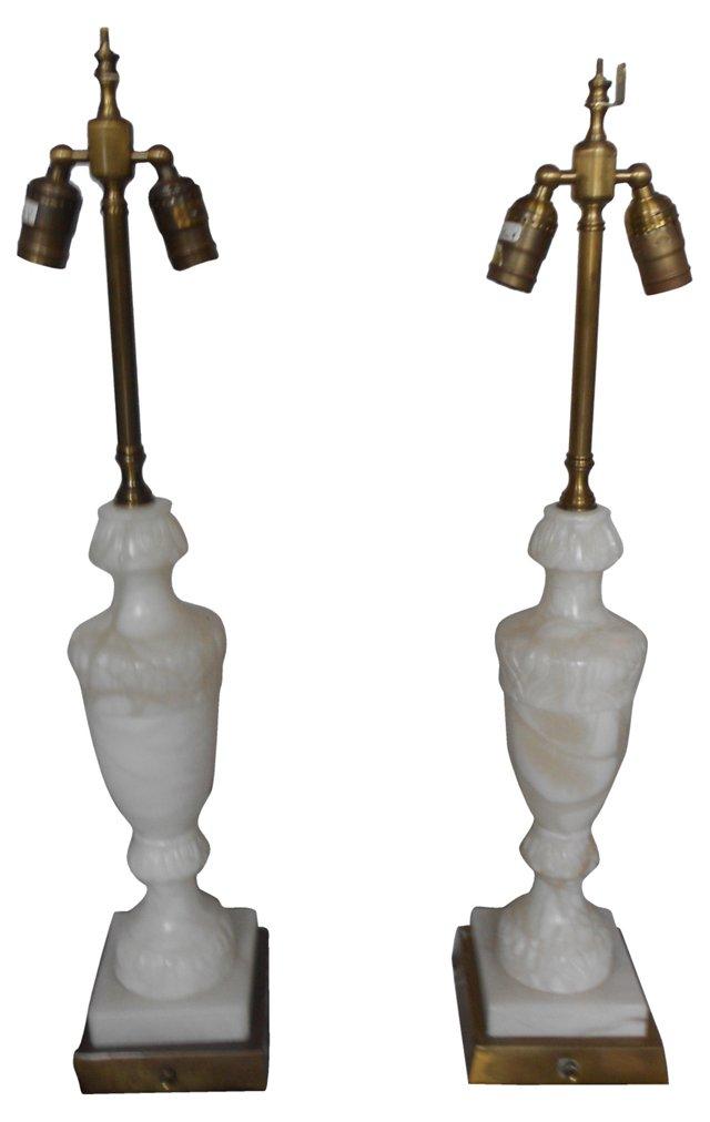 Alabaster & Brass Lamps, Pair