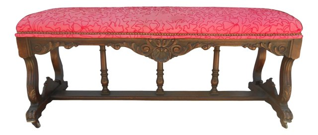 Red     Hall Bench