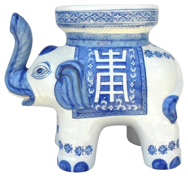 Blue & White Elephant Stool