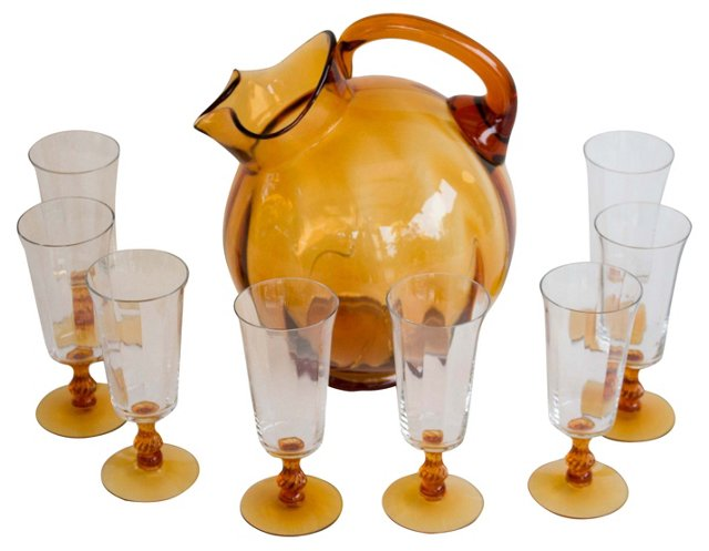 Amber Tilt Pitcher & 8 Glasses