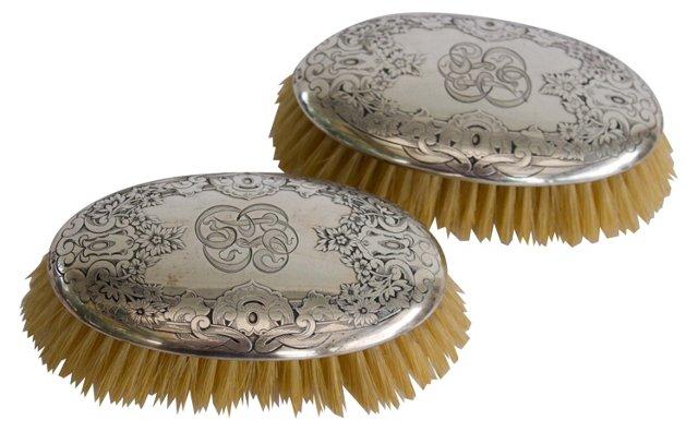 Sterling Silver Vanity Brushes, Pair