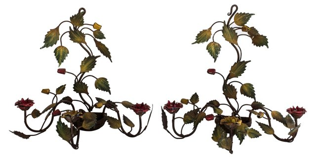 Italian Ivy & Rose Tole Sconces, Pair