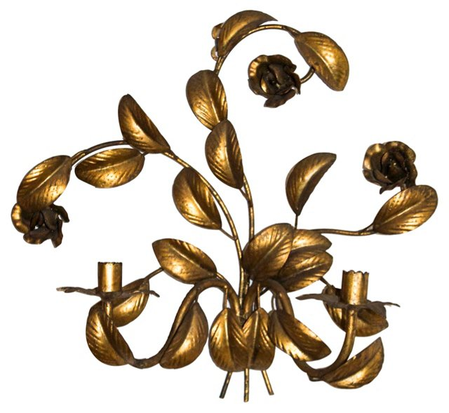Italian Tole Leaves & Roses Sconce