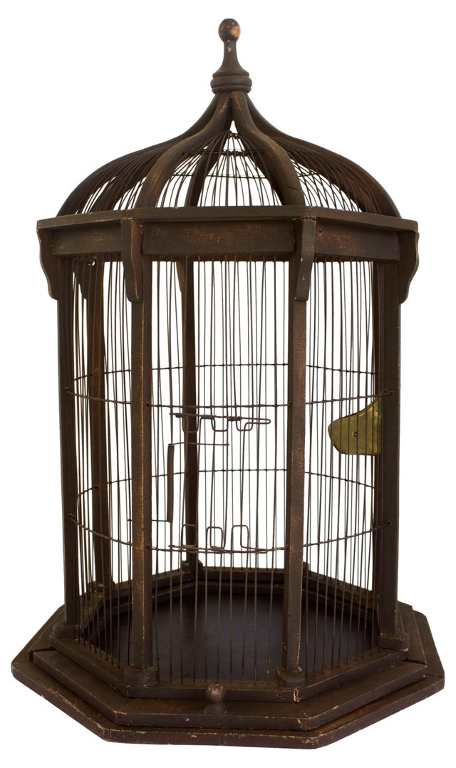 Victorian Wood & Wire Bird Cage