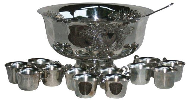 Silverplate Punch Bowl Set, 14 Pcs