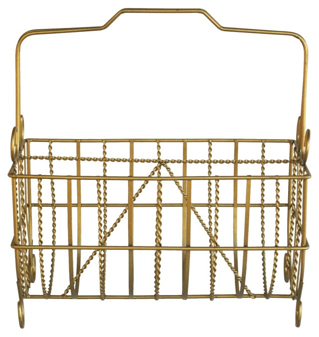 1950s Brass Twist Magazine Rack