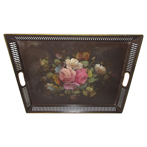 French Hand-Painted Tole Tray