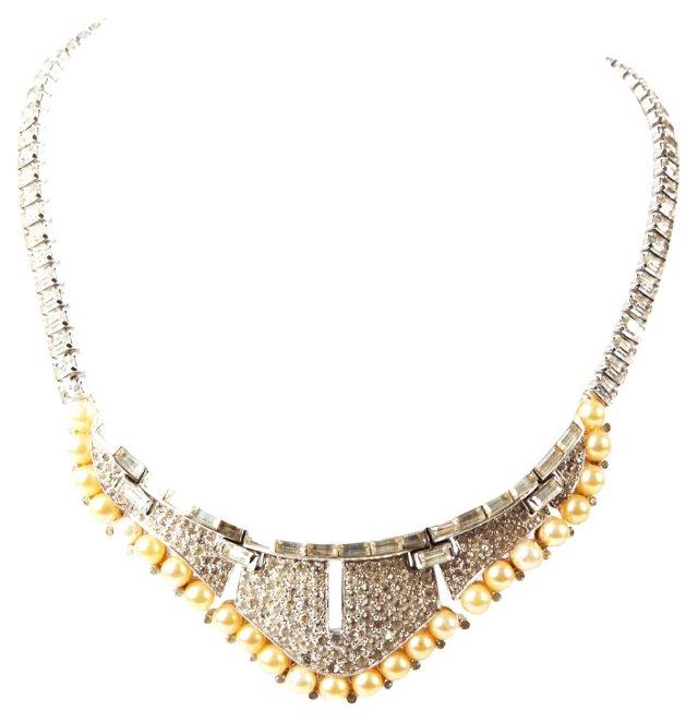 Art Deco Faux-Pearl & Pavé Necklace