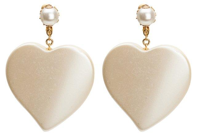 Miriam Haskell Faux-Pearl Heart Earrings