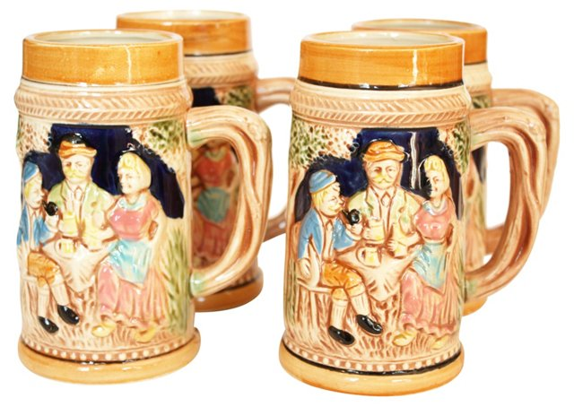 Hand-Painted Porcelain Steins, S/4