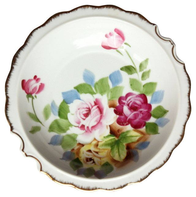 Hand-Painted Rose Platter