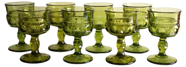 Green Wine Goblets, S/8