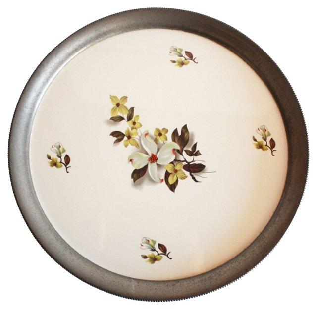 Pewter & Porcelain Dogwood Tray