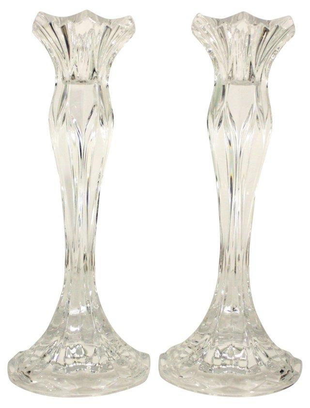 Crystal Candlesticks, Pair