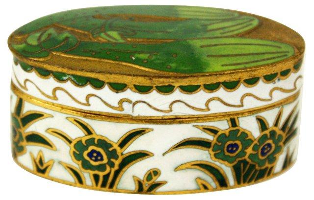 Green & White Cloisonné Box