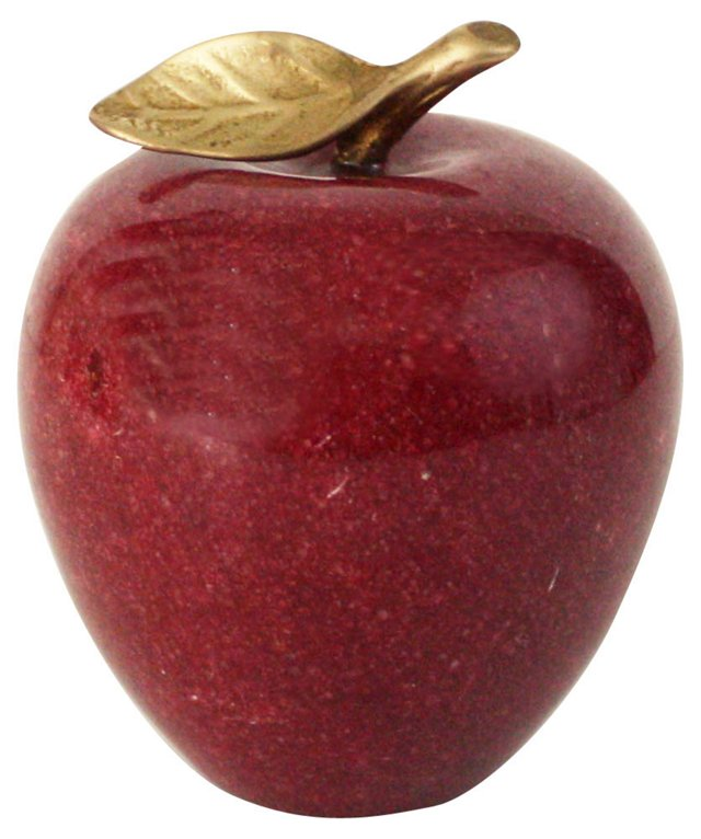 Red Marble & Brass Apple