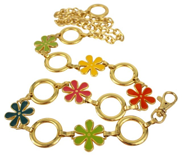 Goldtone Chain Flower Belt