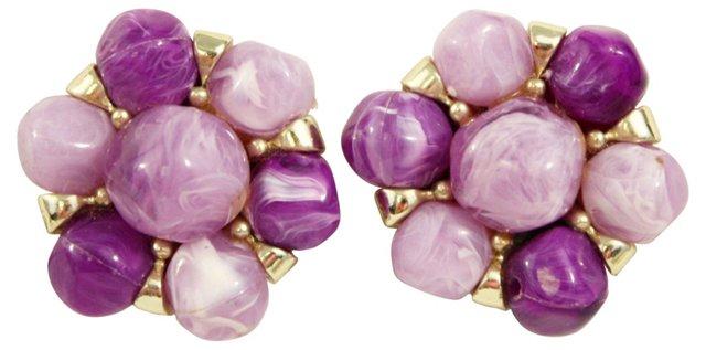 Purple Bead Cluster Earrings