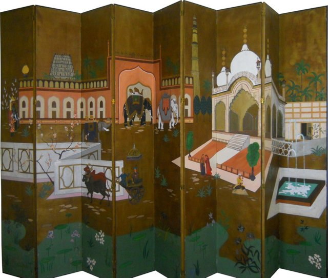 Hand-Painted 9-Panel Screen