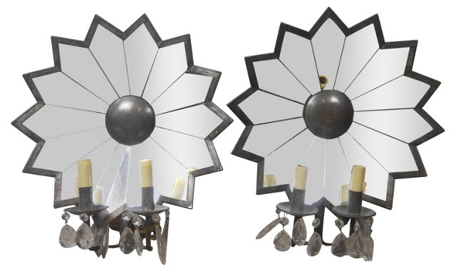 Mirrored Sconces, Pair