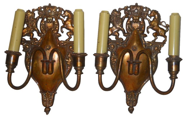 English Copper Sconces, Pair