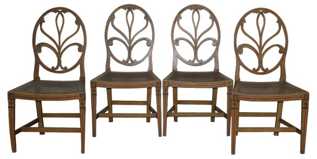 English Caned Side Chairs, S/4