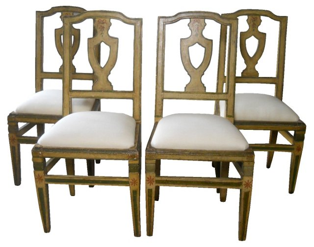 Italian Painted   Chairs, S/4