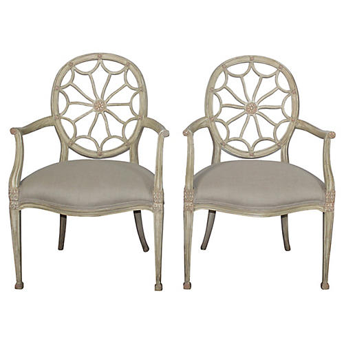 Round-Back Armchairs, Pair