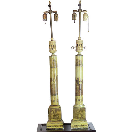 19th-C Tole Table Lamps