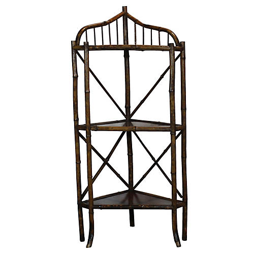 19th-C. Bamboo Corner Shelf
