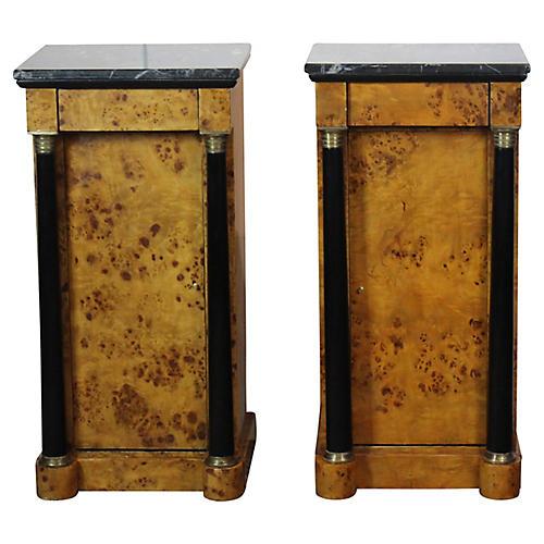 Biedermeier-Style Nightstands, Pair