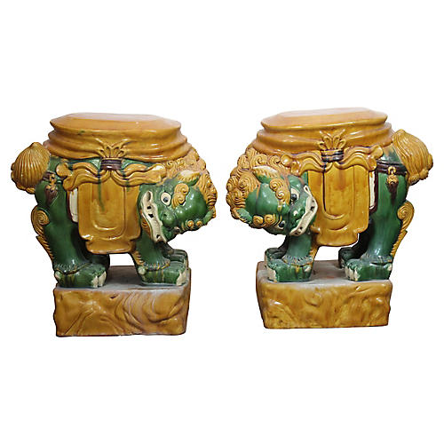 Chinese Dragon Garden Stools, Pair