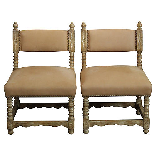Spanish-Style Suede Chairs, Pair