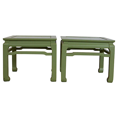 Green Side Tables, Pair
