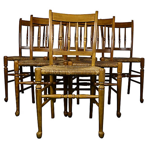 Rush-Seat Dining Chairs, S/6