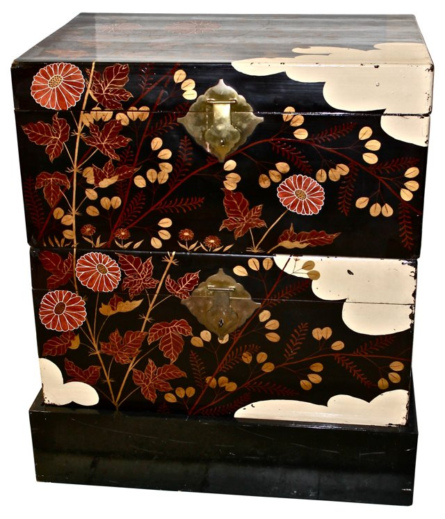 Chinese Lacquered Trunks, Pair