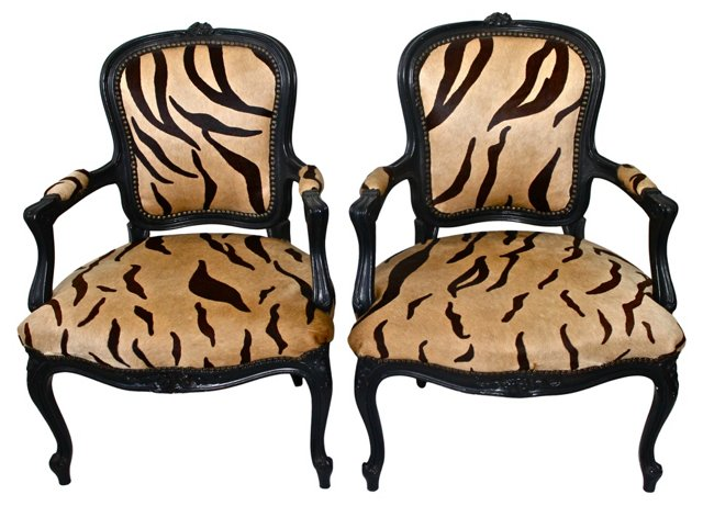 Louis XV-Style Tiger-Print Chairs, Pair