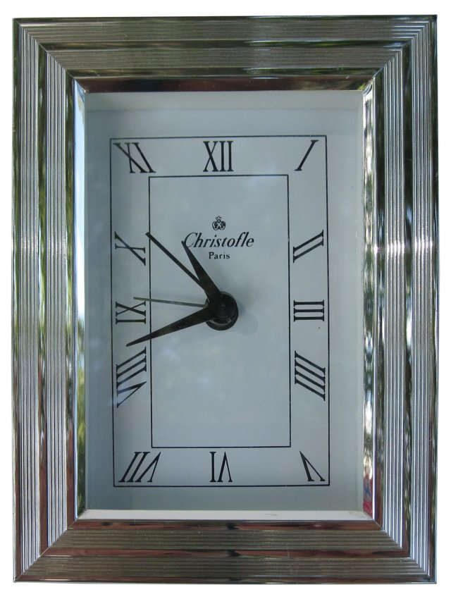 "Christofle ""Filets"" Desk Clock"