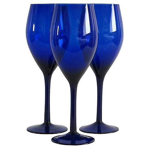 Blue Wineglasses, S/3