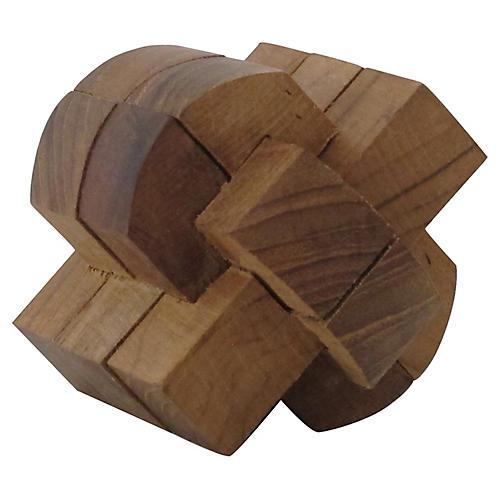 Teak Puzzle Sculpture