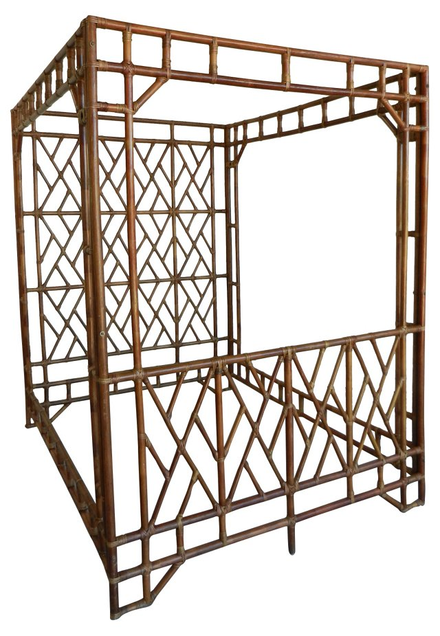 Hollywood Regency Bamboo Canopy Bed