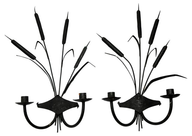 Cattail Candle Sconces, Pair
