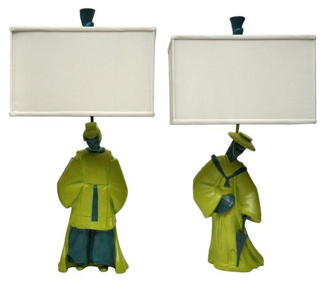 Midcentury Asian Figural Lamps, Pair