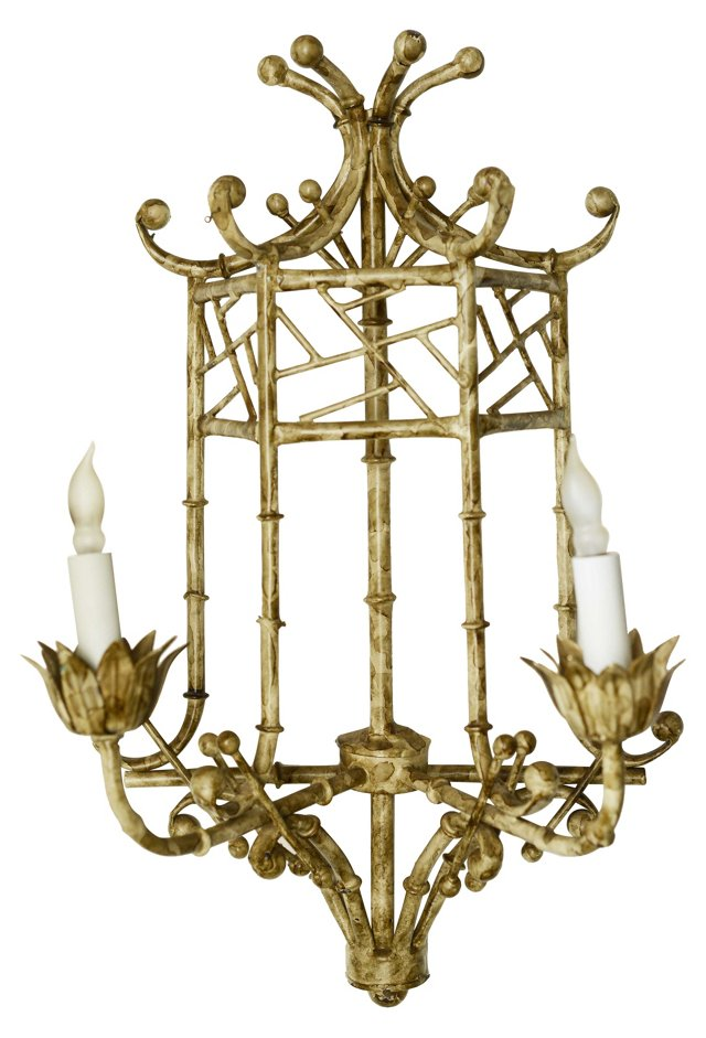 Metal Bamboo-Style Sconce