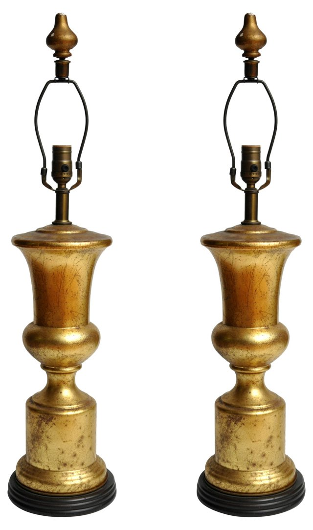 Gilt Urn Lamps, Pair