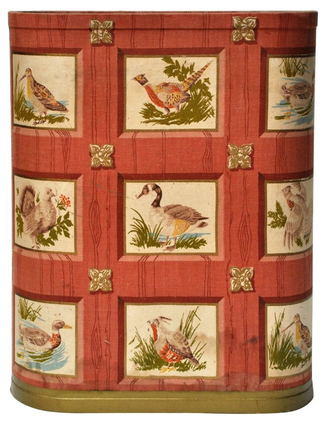 Oval Fowl-Fabric Wastebasket