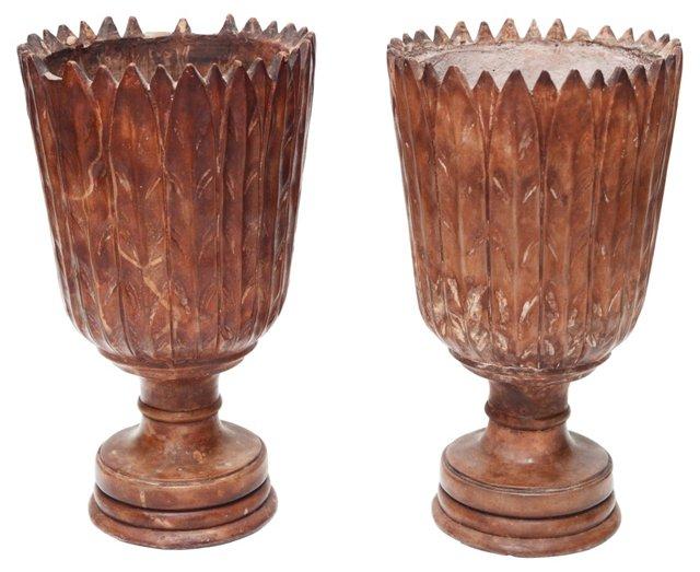 Terracotta Foliate Urns, Pair