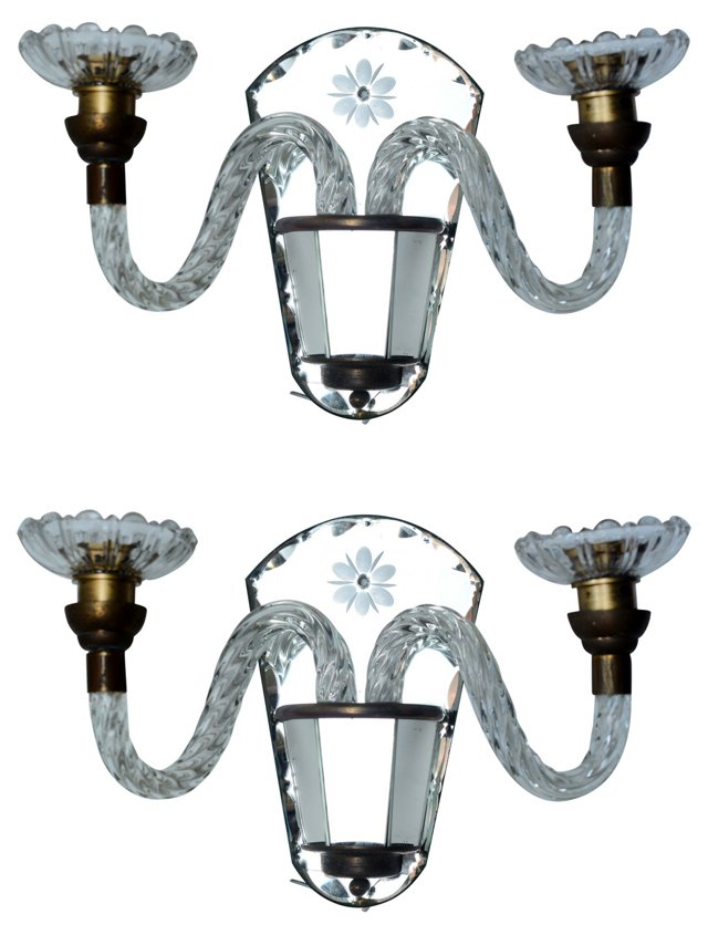 French Etched Mirror Sconces, Pair
